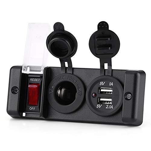 Enchufe para encendedor de cigarrillos, enchufe de red con tapa sellada, resistente al agua, para encendedor de cigarrillos, doble toma de corriente USB, panel de interruptores con luz indicadora para
