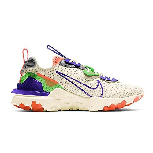 Nike NSW React Vision, Zapatillas para Correr Mujer, Multicolor Pale Ivory Concord Hyper Crimson Mean Green Particle Grey, 41 EU