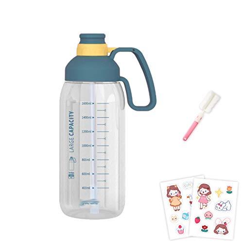 ZYS Práctica Botella de Agua Botella 1.8Litre Deportes de Agua con la manija y la Botella StrawSports Frasco sin BPA de Bebidas, for Running Gimnasio al Aire Libre y el día a día de Uso Regalo Ideal