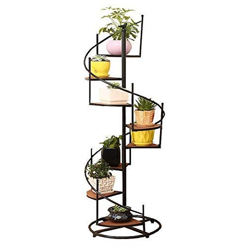 WOF Nordic Blumentopfständer – Schmiedeeisen Blumenständer Metall 8 Etagen Boden Trapez Blumenregal Balkon Wohnzimmer Blumenladen Ausstellungsständer, Holzmaserung, 99×40cm
