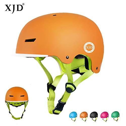 XJD Casco Bicicleta para Niños Ajustable con Certificación CE Resistencia al Impacto con Visera Extraíble para Ciclismo BMX Monopatín Patines sobre Rueda para niños de 3 a 8 años (Naranja, S)