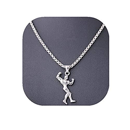 yichahu Europeo y Americano Fitness Collar de Acero de Titanio de los Hombres Colgante de Accesorios Musculares Deportes Culturismo Mr.