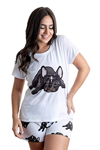 FRENCH BULLDOG BLACK dog pajama set (top & bottom) with shorts for women, color white (XS)