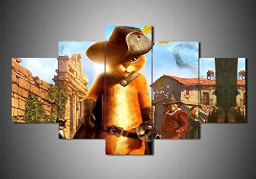 5 Piezas Lienzos Cuadros Pinturas El Gato con Botas Impresiones En Lienzo Decoración para El Arte De La Pared del Hogar, Salón Oficina Mordern Decoración Artística