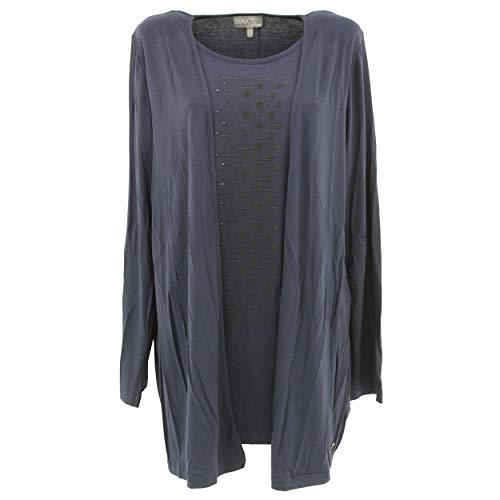 Ulla Popken Selection by Damen Two-in-One-Shirt Sweatshirt, Blau (Dunkelblau 70), (Herstellergröße: 42+)