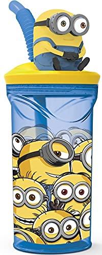 P:os 32259 – Vaso para niños con pajita y tapa, transparente, incluye figura 3D en diseño de Minions, aprox. 360 ml, sin BPA ni ftalatos