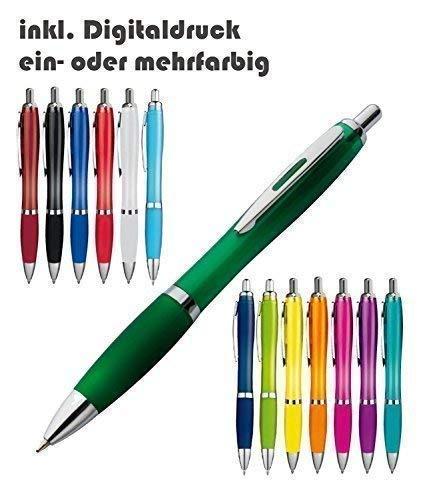 Schmalz Werbeservice Kunststoff Kugelschreiber Newport inkl. Druck mit Werbung/Logo/Druck/Werbedruck Kugelschreiber Bedruckt Digitaldruck Mehrfarbig (Menge: 500 Stück, apfelgrün)