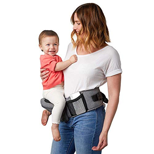 TushBaby The Only Safety Certified Hip Seat Baby Carrier - As Seen On Shark Tank, Ergonomic Waist Carrier for Newborns, Toddlers & Children, Grey