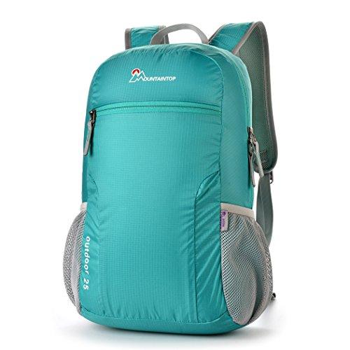 Mountaintop Pieghevole 25L Zaino / Zaino leggero Packable per i Viaggi, il Campeggio, Trekking, Scuola, Sport, Ultraleggero e Pratico turchese