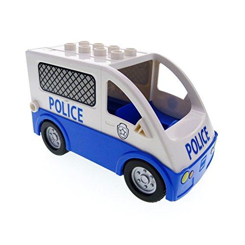 Bausteine gebraucht 1 x Lego Duplo Auto blau weiß Van Typ 2 Polizei Polizeistreife Transporter Police Wagen für Set 5602 58236pb02 1406c02pb01