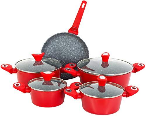 Zilan 9-Teiliges Kochtopfset | Für alle Herdarten geeignet, auch Induktion | Topfset | Kasserolle | Kochtopf mit Deckel | Kochgeschirr | Töpfe mit Glasdeckel
