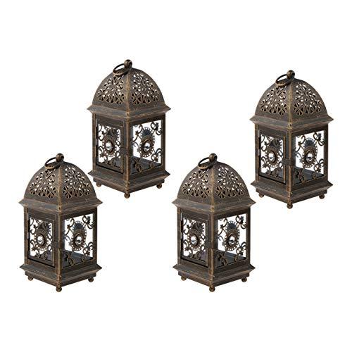 Grande Lanterne de Jardin Vintage en métal pour intérieur et extérieur Large Noir