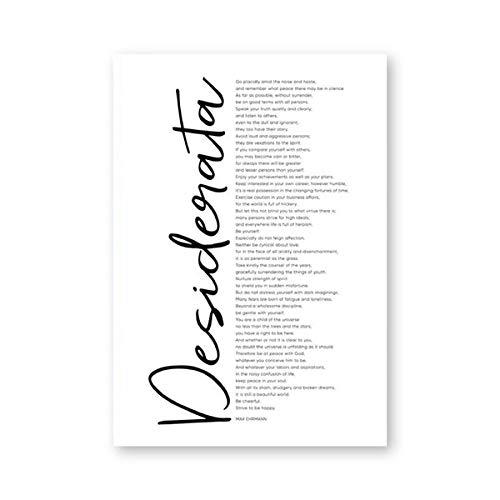 Desiderata Afdruk Max Ehrmann Gedicht grote poster decoratie Home muurkunst decoratie inspirerend citaat literatuur kunst canvas schilderij 40x60cm geen lijst