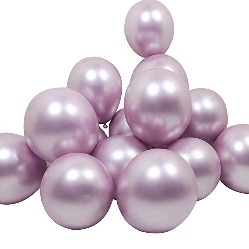 12inch 50pcs Metallic Chrome Light Purple Balloon Shiny Color Balloon for Engagement Wedding Birthday Baby Shower Valentine¡¯s Day Party Supplies (Lilac)