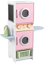 KidKraft Laundry Playset Children's Pretend Wooden Stacking Washer and Dryer Toy with Iron and Basket, Pastel ,Gift for Ages 3+