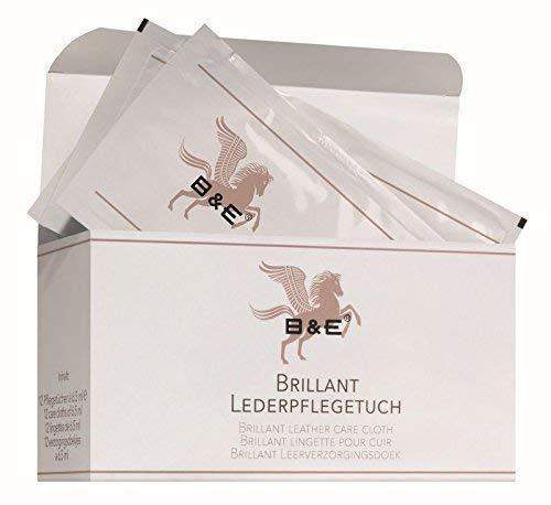 B & E - Brillant Lederpflegetuch - 12 Stück - Premium Lederpflege für Glattleder und Kunstleder