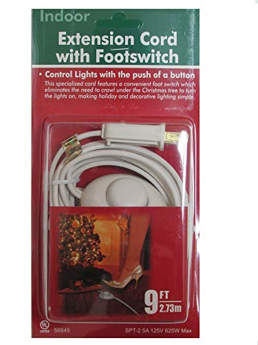 9 Foot Christmas Extension Cord with On/Off Foot Switch - UL Listed (White)