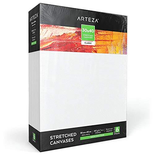 Arteza Lienzo para pintar cuadros | 30x40 cm | Pack de 6 | 100% algodón | Lienzos con imprimación de gesso de titanio sin ácidos | para profesionales, aficionados y principiantes