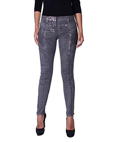 Pierre Balmain - Damen Biker Metallische Jeans (5M7105/73630/811) - grau, W24 (Herstellergröße: 34)