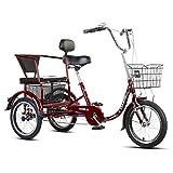 Triciclo para adultos Triciclo for adultos con canasta, bicicletas de 3 ruedas 16 pulgadas adultos adultos mayores crucero bicicleta, bicicletas de tres ruedas for mujeres for hombres principiantes, s