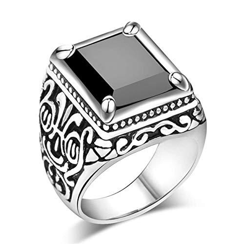 Anillo de boda cuadrado grande con piedra de cristal vintage para hombre, anillo de boda, ágata de oro, rojo, tamaño N 1/2, diseño práctico y duradero