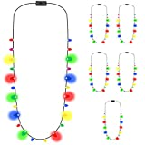Light Up LED Christmas Holiday Bulb Necklace - 10 mini bulbs / 4 Colors (Pack of 6)