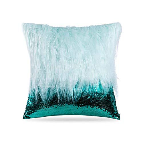 Bulgeo Furry Pillowcase Plush Mongolian Faux Fur Pillow Covers Glitter Sequins Decorative Cushion Case 18in x18 in (Green)