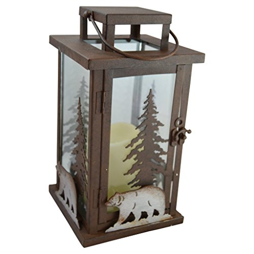 Pine Ridge Bear LED Candle Lantern Lights Decorative - Metal Square Holder Log Cabin Decor Table top...