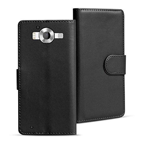Verco Lumia 950 Hülle, Handyhülle für Microsoft Lumia 950 Tasche PU Leder Flip Case Brieftasche - Schwarz