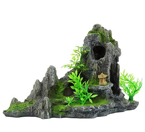 XAUIIO Aquarium Fish Tank Mountain View Stone Decoration, Resin Moss Tree Rock Cave Ornament(C)