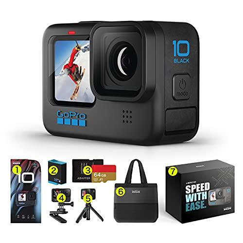 【国内正規品 2年無料保証】GoPro HERO10 Black アップグレード アクションカメラ ゴープロ 人気アクションカム (HERO10Black本体+認定SDカード(64GB) + 予備バッテリー+ Shortyミニ延長ポール+クリップマウント+2年無料保証+ギフトボックス+大容量バック)