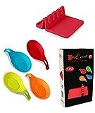 HelpCuisine Poggiamestoli/Poggiacucchiai + 1 X poggia Utensili Realizzati in Silicone Alimentare Privo di BPA, termoresistente e Durevole, Set da 4 (Rosso, Verde, Arancione e Blu)