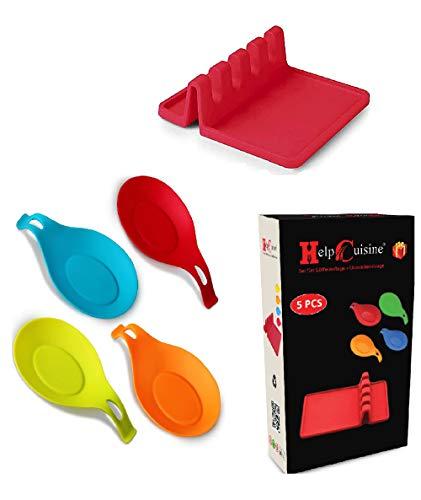 HelpCuisine 5er Set farbige Küchen Silikon LÖFFELABLAGE KOCHLÖFFELABLAGE mit Küchenutensilienablage aus 100prozent BPA freiem Silikon