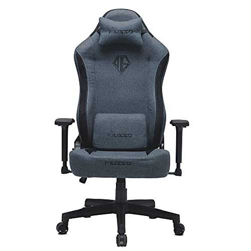 Musso Fabric Gaming Chair with Wide Seat,Heavy Duty Racing Chair, Adults Adjustable Video Game Chair, Large Size PU Leather High-Back Executive Office Chair