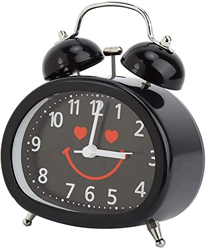 CHUNYU Reloj Despertador de Campana Doble de 4 Pulgadas con retroiluminación, Lindo Reloj Despertador Ruidoso para Personas Que Duermen Mucho, Reloj Despertador con batería, sin tictac (Blanco)