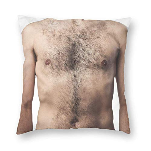 DRXX Square Throw Pillow Covers Hairy Chest Protectors Bedroom Home Invisible Zipper 45X45 cm