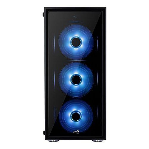 Aerocool QUARTZRGB - Caja gaming para PC (semitorre, ATX, 2 paneles de cristal templado, 7 ranuras de expansión, incluye 3 ventiladores 12cm RGB, 4 modos de color, incluye HUB P7H1), color negro