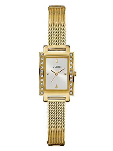 GUESS Reloj rectangular de malla dorada para mujer