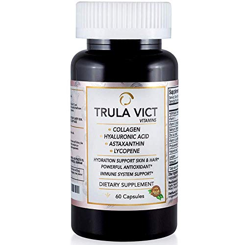 TRULA VICT Capsule, Hyaluronic Acid, Lycopene, Astaxanthin and Collagen, Anti Aging Pill, Antioxidant, Supports Immune System, Prostate Health, Brain Nerve Pills,100% Organic Ingredients