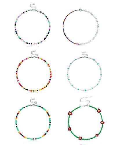 VELESAY 6 Piezas Bohemia Collares de Flores Collares Surferos Collares de Gargantilla con Cuentas Collares Mujer Niñas Bisuteria