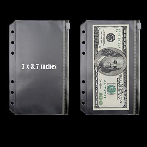 A6 Budget Binder with Cash Envelopes, PU Leather Notebook Binder with 12 PCS A6 Binder Pockets - Khaki