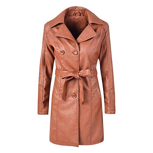 FRAUIT Damen Lange Leder Jacke Mantel Zweireiher Revers Ledermantel Trenchcoat Windjacke Parka Herbst Winter Frauen Outwear Mit Gürtel