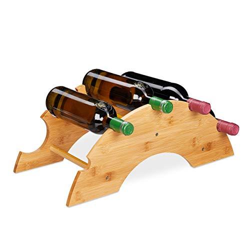 Relaxdays 10028814 Wijnrek voor 5 flessen, bamboe, boogvorm, wijnrek voor tafel, commode en keuken, h x b x d x h cm, naturel
