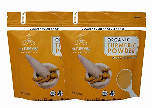 Polvo de raíz de cúrcuma orgánica (2lb) por Naturevibe Botanicals, (2 paquetes de 1 lbs cada uno)   Sin gluten y sin OMG verificado   Contiene curcumina [el embalaje puede variar]