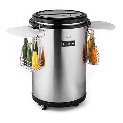 Klarstein - Mr. Barbot, Minibar, Mini-Kühlschrank, Getränkekühlschrank, Getränkefass, F, 50 L, Durchmesser: ca. 50,8cm, ca. 24kg, genaue Temperaturkontrolle über LCD-Display möglich