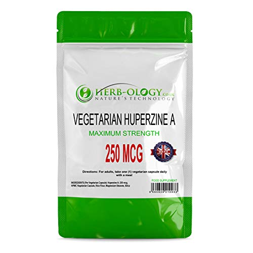 Herb-ology Huperzine A Capsules | 60 High Strength Huperzia Serrata Supplements, 250mcg per Capsule | Nootropics Supplements | Suitable for Vegetarians & Manufactured in the UK