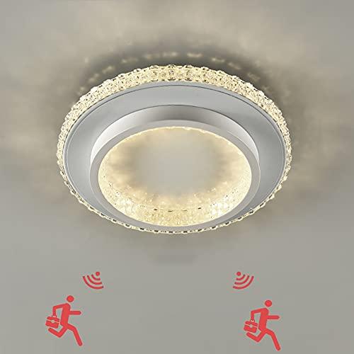 Lámpara de techo LED con Detector de Movimiento Plafón de Techo con Sensor de Movimiento 24W Luz de techo Redondo Moderna para habitacion balcón pasillo salon cocina baño garaje 6000K blanco frío