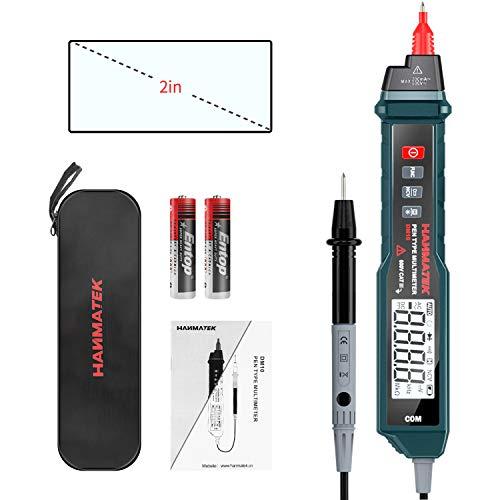 Multimetro Digitale Portatile, HANMATEK DM10 Multimetro senza Contatto a Display LCD Retroilluminato, Automatica Misurazione di Voltmetro Resistenza AC DC Diodo Frequenza, Conservazione Dati, LED, NCV