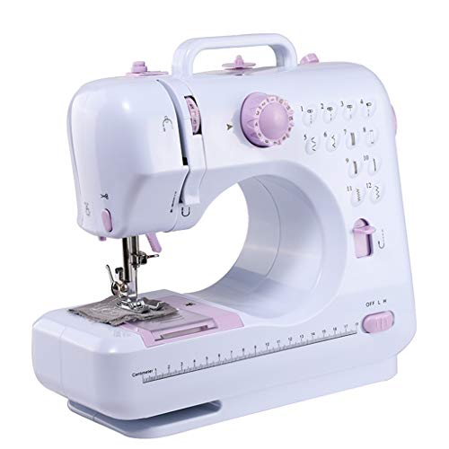 Household Beginner Sewing Machine with Built-in 12 Floral Stitches, Mini Sewing Machine Hand-Held Tailor Sewing Tool with 2 Speeds for Fabric, Clothing, DIY