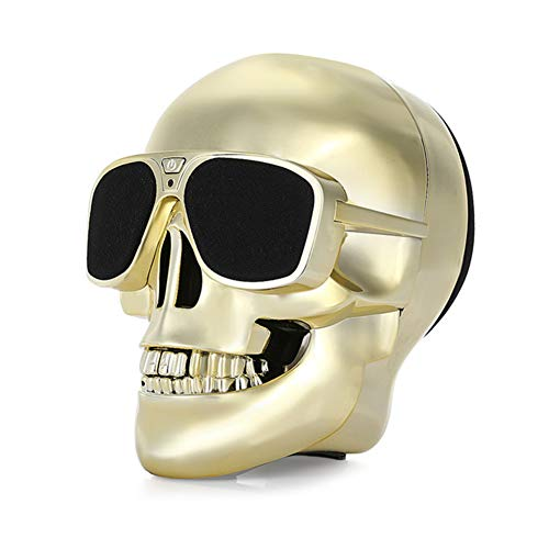 Altavoz Bluetooth Skull 4000 MAH Power Bank Inalámbrico Super Bass Stereo Sound Cool Skull Ilustraciones Altavoz con Wonderful Eyes Light para Home Party/Office/Business/Bedroom/Outdoor,Gold